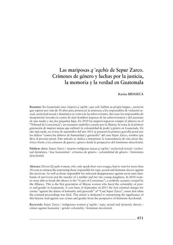 Las Mariposas Q Eqchis De Sepur Zarco Crimenes De Genero Y Luchas Por La Justicia La Memoria Y La Verdad En Guatemala