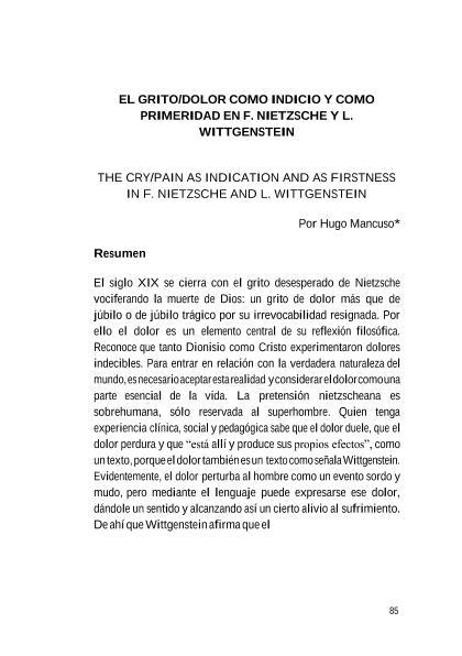 Grito Dolor Como Indicio Y Como Primeridad En F Nietzsche Y L Wittgenstein